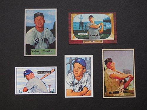 Mickey Mantle (5) Card Bowman Reprint Lot #2 **1951 Rookie, 1952, 1953, 1954,1955** (Yankees)