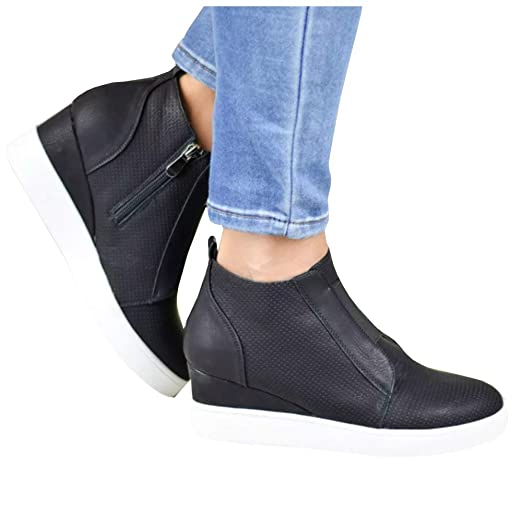 104c899934bed Womens Wedge Sneakers Platform with Side Zipper Slip on Elastic Band Round  Toe Casual Shoes
