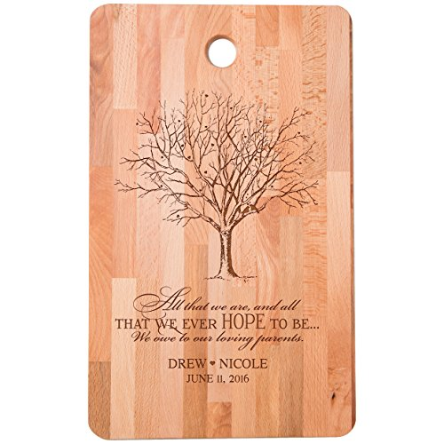 Personalized bamboo Cutting Board reads All that we are We owe to our loving parents for bride and groom Wedding Anniversary Gift Ideas for Him, Her, Couples Established Dates to Remember 11