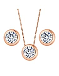 EleQueen 925 Sterling Silver 0.7 Carat Round CZ Bridal Necklace Earrings Jewelry Set Rose Gold Plated