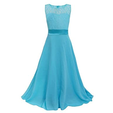 Moresave Girls Flower Lace Dress Wedding Bridesmaid Party Floral ...