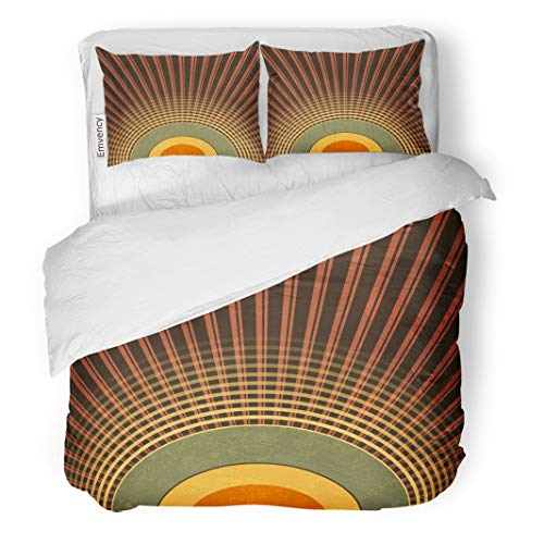 Semtomn Decor Duvet Cover Set Twin Size Brown Retro Abstract Radio Waves Vintage Music Pattern Green 3 Piece Brushed Microfiber Fabric Print Bedding Set Cover