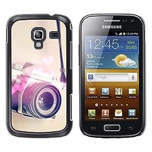 Cámara Corazón Fotografía amor fotos - Metal de aluminio y de plástico duro Caja del teléfono - Negro - Samsung Galaxy Ace 2