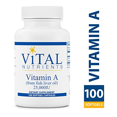 Vital Nutrients - Vitamin A (from Fish Liver Oil) 25,000 IU - Supports Immune Function and Vision - 100 Softgel Capsules per Bottle