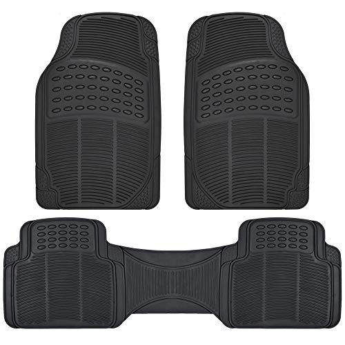 (ProLiner Original 3pc Heavy-Duty Front & Rear Rubber Floor Mats for Car SUV Van & Truck - All Weather Protection Universal Fit (Black))