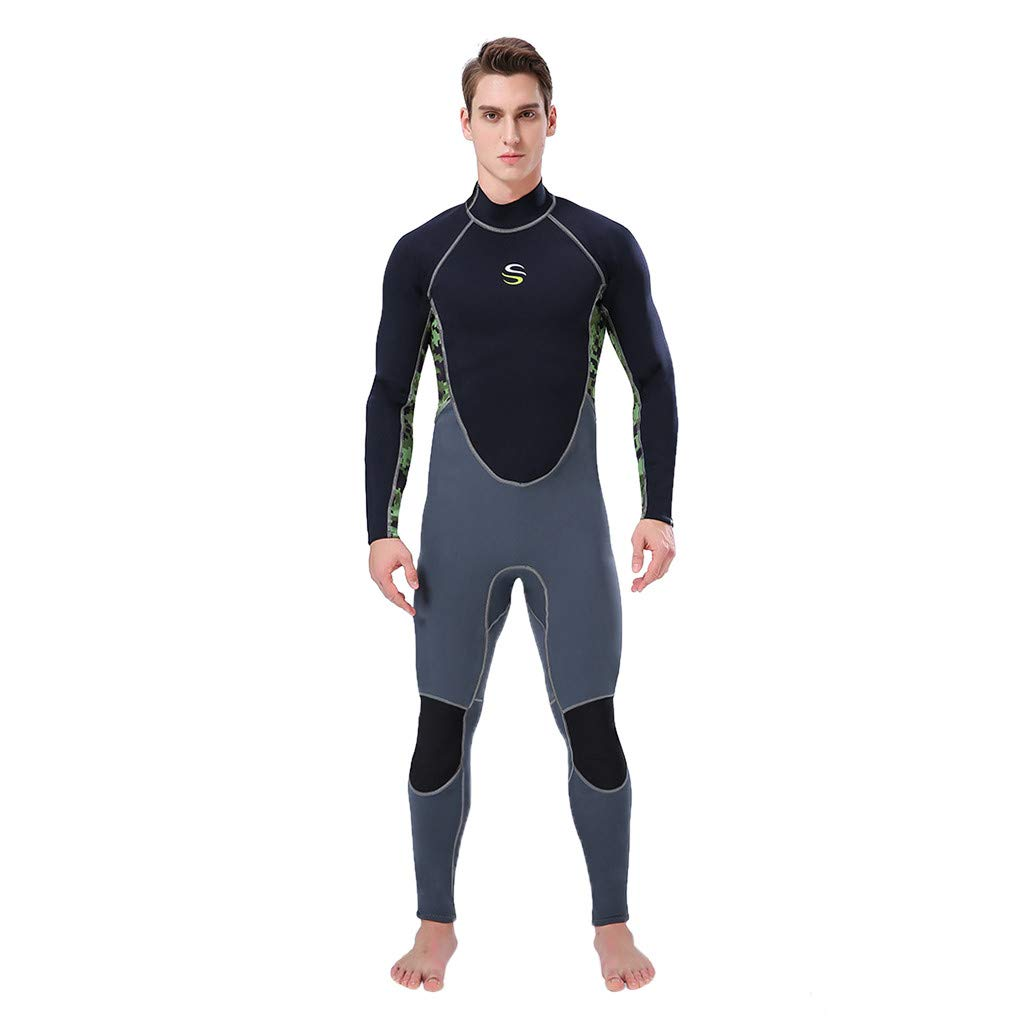 Seaintheson Men's Wetsuit,Summer Quick Dry 3MM Full Body Suit Breathable Sports Dive Skins for Snorkeling Swimming (Army Green, M)