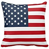 Cateyes Polyester Patriotic American Flag Red White Blue Throw Pillow Covers(16 x 16 Inches)