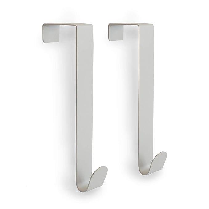 Amazon.com: Sobre el gancho de la puerta, paquete de 2. Gris ...