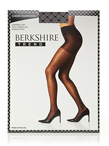 Berkshire Women's Sheer Diamond Control Top Pantyhose, Fantasy Black, - Pattern Diamond Pantyhose