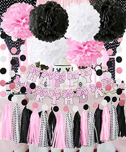 Minnie Mouse Party Decorations Minnie Mouse Happy Birthday Party Decorations,Pink White Black Tissue Pom Pom Circle Garland Tassel Sheets Minnie Mouse DIY Decor for Minnie/Mickey Birthday Decorations ()
