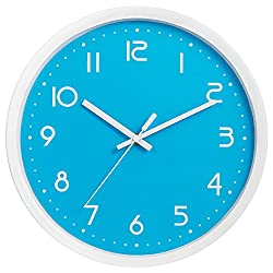 Wall Clock, SkyNature Metal Decorative Silent Quartz Wall Clock for Home Living-room Kitchen Office School Bedroom (12 Inch, Blue)