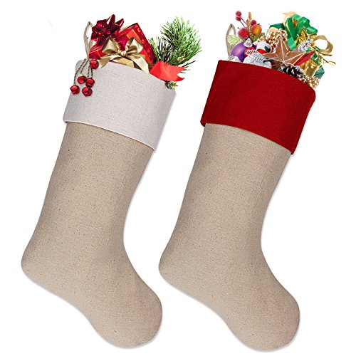 "Ivenf 18"" Burlap Personalized Christmas Stockings, Xmas Holiday Decorations 2 Pack"