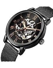 AFFUTE Mechanische Uhren Herren Klassische Skeleton Mesh Edelstahlarmband Hand-Wind-Armbanduhr