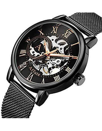 d36fb682f70 AFFUTE Mechanical Men s Watches Classic Thin Skeleton Silver Tone Mesh  Stainless Strap Hand-Wind Analogue