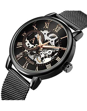 Relojes mecánicos para Hombres Reloj de Pulsera con Cuerda Manual de Acero  Inoxidable con Malla de 2cc9ca5b7a6b