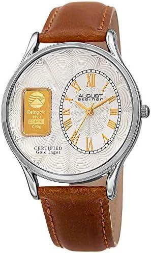 August Steiner AS8224 Certified Gold Ingot Bar Men s Watch Genuine Leather Strap, Round Case, Textured Dial, Three Hand Quartz with Roman Numerals