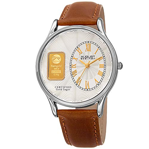 August Steiner Certified Gold Ingot Bar Men's Watch - Genuine Leather Brown Strap, Silver Tone Round Case, Textured Dial, 3 Hand Quartz - AS8224SS ()