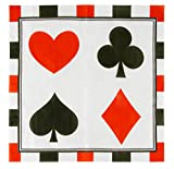 Cocktail Napkins - 150-Pack Luncheon Napkins, Disposable Paper Napkins Casino Party Supplies, 3-Ply, Poker Design, Unfolded 13 x 13 inches, Folded 6.5 x 6.5 inches