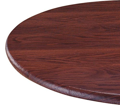 LAMINET Woodgrain Elastic Round Table Cover, Large Fits Up to 45