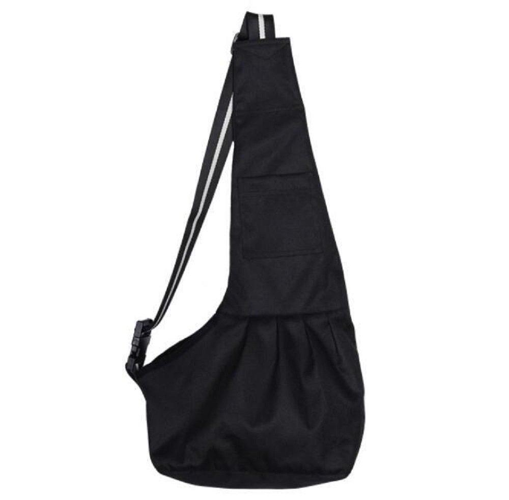 YFDZONE Pet Dog Cat Puppy Oxford Cloth Sling Carrier Adjustable Travel Tote Shoulder Bag Hand-Free Dog Kennel Single Shoulder Bag (L,Black)