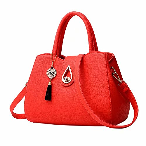 Large Leather Classic Satchels Tote Girls Handbags Ladies Handbag Capacity Red For Designer Body Work Travel Bags Shoulder Women Zerototens Bowknot Cross 0qYIn