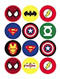 35 x Pre Cut Super Hero Cake, Cupcake Toppers/Decorations Edible Wafer Paper