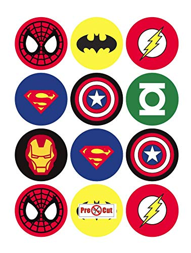 40 x Pre Cut Super Hero Cake, Cupcake Toppers/Decorations Edible Wafer Paper Goggly