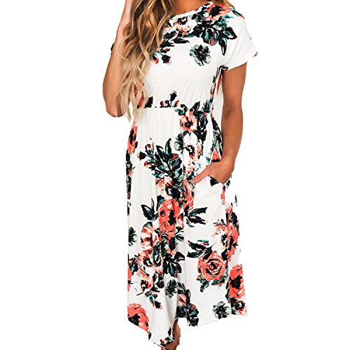 Sky-Pegasus 2018 Size 3XL Summer Women Casual Party Dresses Vintage Floral Short Sleeve Summer Costume,White,XL