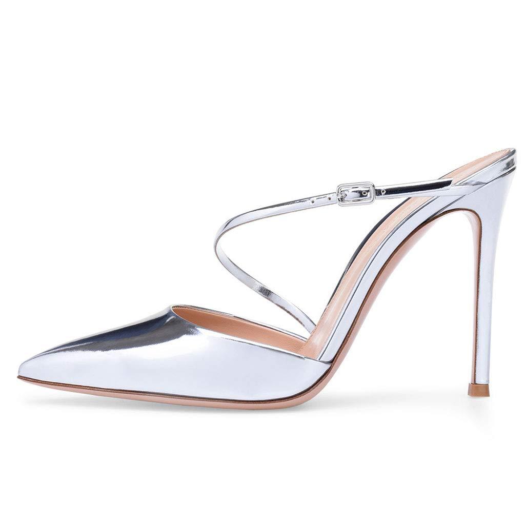 LFF.FF Damen Spitz Metall Silber Lackleder Schlanker High High High Heel Schnalle Super High Heel (8 cm Oder Mehr)  a7d204