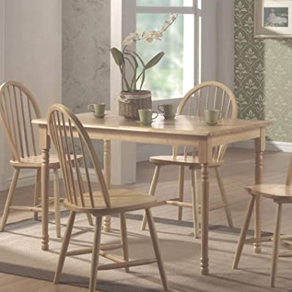 Rectangular Wood Bistro Dining TableTurned Legs And Base Smooth Top With Rounded Edges