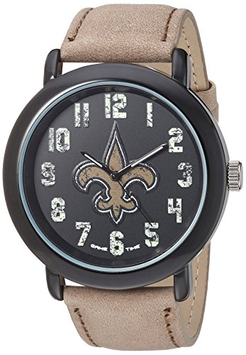 Game Time Men's 'Throwback' Quartz Metal and Leather Casual Watch, Color:Beige (Model: NFL-TBK-NO) -