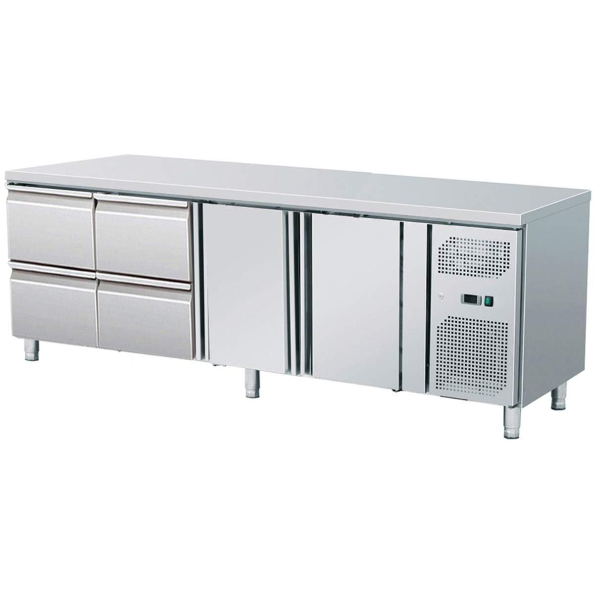 ZORRO - Kü hltisch mit Fü ß en ZGN 4140 TN - 2 Tü ren - 4 Schubladen - Gastro Zubereitungstisch mit Arbeitsflä che - R600A - Digitales Thermostat - Umluftkü hlung