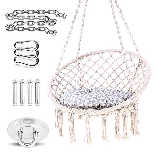(Ohuhu Hammock Chair Macrame Swing with Hanging Hardware Kit & Cushion, Hanging Cotton Rope Macrame Hammock Swing Chairs for Indoor, Outdoor, Home, Patio, Yard, Garden, 265 Pound)
