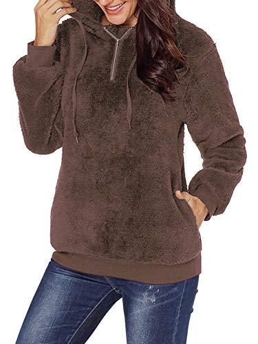 Womens Cute Soft Faux Fuzzy Fleece Dolman Long Sleeve Cozy Sweater Outwear Coats Brown L -