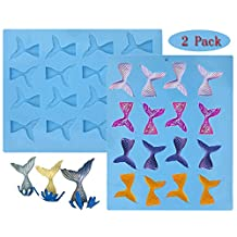 Sakolla (set of 2) 16 Cavity Gummy Mermaid Tail Silicone Fondant Mold for Cake Decoration Make Fishing Lures Chocolate Mold Soap Mold Candy Mold Baking Tool Jello Mold Cupcake Topper Ice Tray