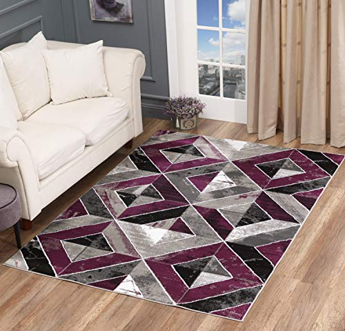 Golden Rugs Area Rug Abstract Diamond Modern Modern Distressed Carpet Bedroom Living Room Contemporary Dining Accent Sevilla Collection 5504 (5x7, Purple)