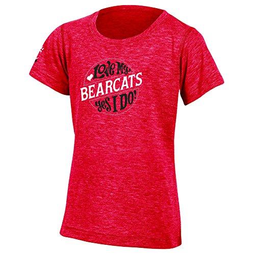 Champion NCAA Cincinnati Bearcats Youth Girls Fashion Fit Short Sleeve, Medium, Red Heather ()