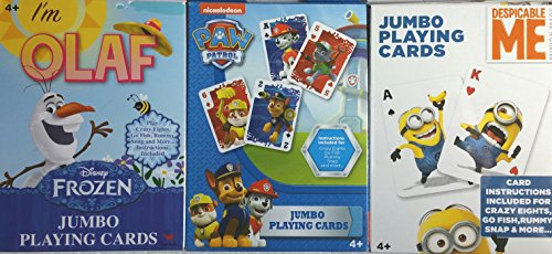 Dispicable Me Disney (3 Jumbo Decks of Playing Cards ~ Frozen's- Olaf, Dispicable Me, & Paw Patrol ~ Children Kid Card Games)