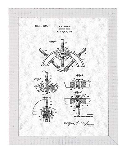 Boat's Steering Wheel Patent Art Gunmetal Print in a Distressed White Wood Frame (13