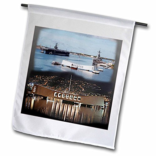 3dRose fl_107070_1 USS Abraham Lincoln, USS Arizona Memorial Day and Night Pearl Harbor Garden Flag, 12 by 18-Inch ()