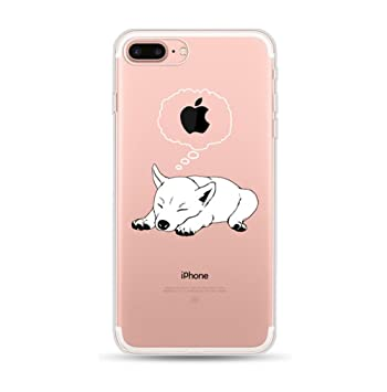 Freessom Coque Iphone 6 6s Silicone Transparente Motif Chien Blanc Simple Chic Apple Dessin Drole Mignon Kawaii Fine Design Original Fantaisie Anti