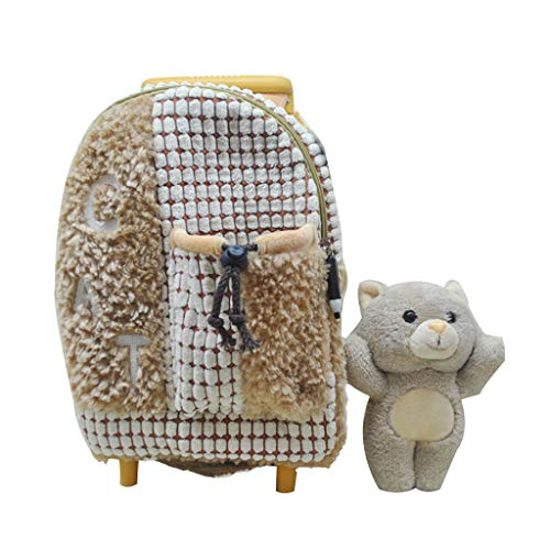 Ly-lgb Children's Trolley Bag Kindergarten Shoulder Bag Baby Travel Backpack Plush Toys