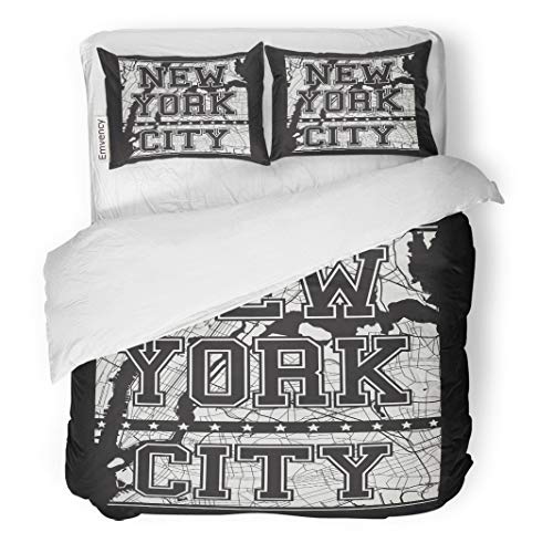 Semtomn Decor Duvet Cover Set Twin Size Map New York Tee City Streets Graphics Stamp Label 3 Piece Brushed Microfiber Fabric Print Bedding Set -