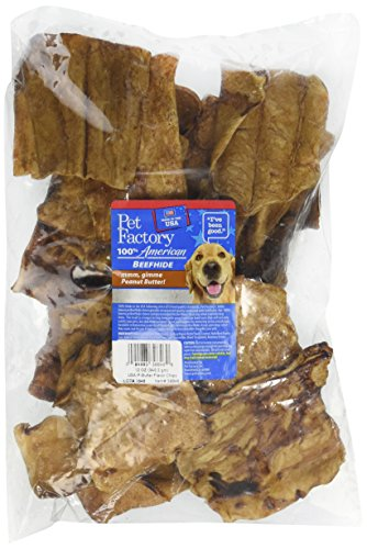 PET FACTORY 39846 USA Beef Hide Peanut Butter Basted Chips, 12 (Beef Basted Chips)