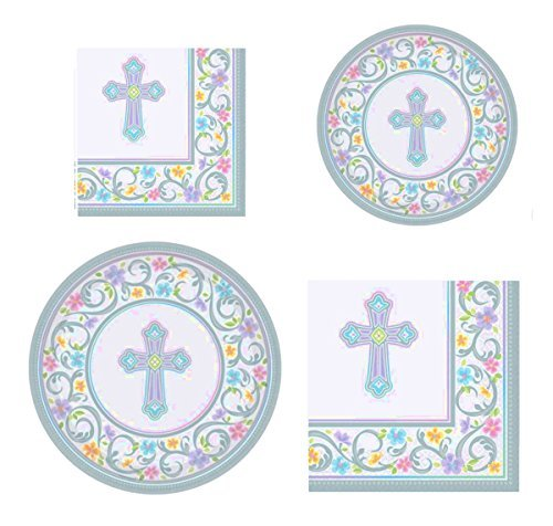 Inspirational Religious Party Supplies for 36 People: Dinner Plates Dessert Plates Luncheon and Dessert Napkins 144 Piece Bundle