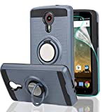 ZTE N817 Phone Case,ZTE Uhura/ZTE Ultra/ZTE Quest Case with HD Phone Screen Protector,Ymhxcy 360 Degree Rotating Ring & Bracket Dual Layer Resistant Back Cover for ZTE N817-ZH Metal Slate