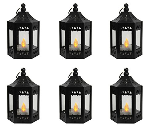 6pc Mini Black Candle Lanterns with Flickering LED Tea Light Candle, Batteries -