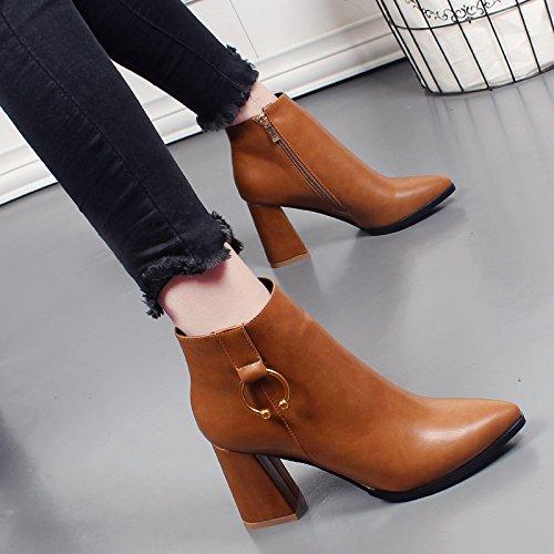 Komfortable Mit Hohen Und Schuhe Ein Kurze Reißverschluss Weiblich Absätzen Dicke yellow Mit Martin Britischer KHSKX Stiefel xO1wUHqx