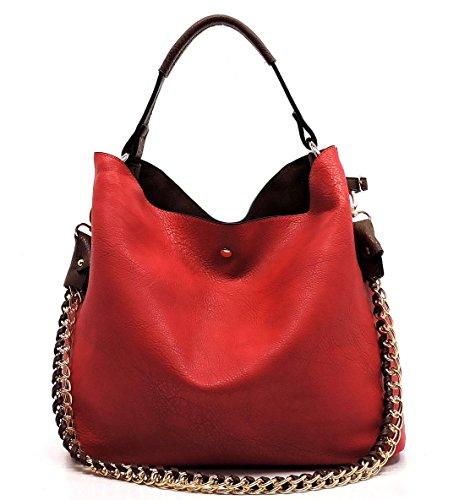 Classic 2 Handle Republic Crossbody w Red Straps Handbag Top Tote Pouch CY5qwq