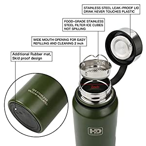 Large Vacuum Insulated Stainless Steel Water Bottle, Double Walled, Leak Proof and Built-in Filter, Food Grade Wide Mouth Coffee Mug for Travel Camping Outdoor Sports, Keeps Drink Hot & Cold (37 oz)